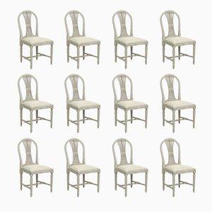 Sedie Ax antiche gustaviane intagliate, set di 12