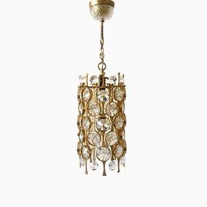 Lámpara de araña de cristal tallado de Palwa, años 60