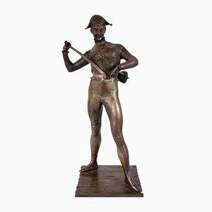 Harlekin aus Bronze von Paul Dubois, 1880er