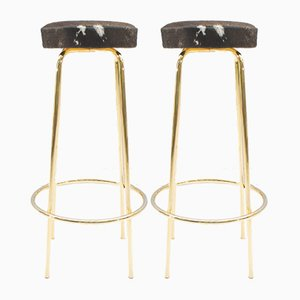Mid-Century Golden Cowhide Bar Stools, 1960s, Set of 2