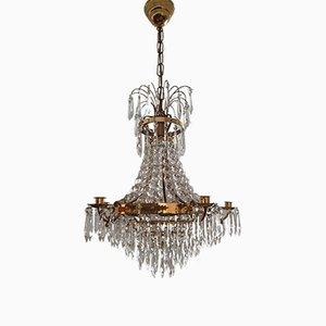 Lámpara de araña sueca vintage de cristal