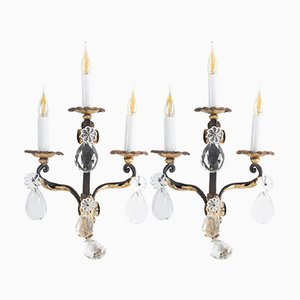 Antique Gilded Wrought Iron Sconces, set of 2