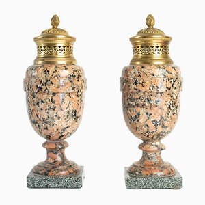 Antique Louis XVI Granite Urns, Set of 2
