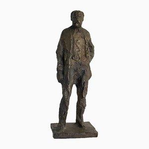 Scultura vintage raffigurante Anton Worjac in bronzo di Jurcak