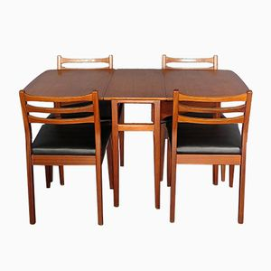 Mid-Century Drop Leaf Teak Table and 4 Chairs from Meredew