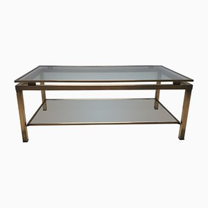 Vintage Brass Rectangular 2-Tier Coffee Table from Maison Jansen, 1980s