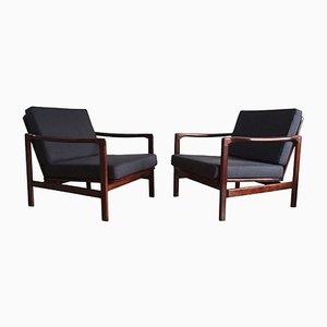 Dark Blue Linen Lounge Armchairs by Zenon Bączyk for Swarzędzkie Fabryki Mebli, 1960s, Set of 2