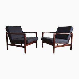 Dark Blue Linen Lounge Armchairs by Zenon Bączyk for Swarzędzkie Fabryki Mebli, 1960s, Set of 2