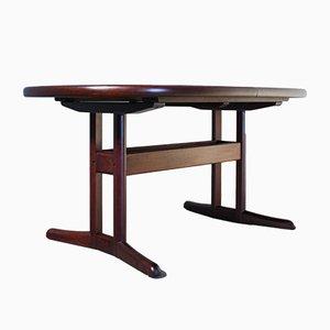 Mesa de comedor danesa oval de palisandro, años 60