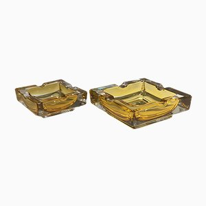 Vintage French Glass Ashtrays, 1950s, Set of 2