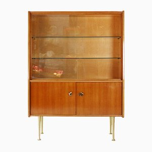 Cherrywood Veneer Showcase with Brass Details, 1950s