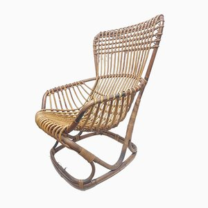 Rattan Lounge Chair by Tito Agnoli for Bonacina, 1960s