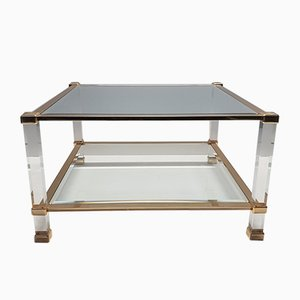 Italian Lucite & Brass Square Coffee Table from Orsenigo, 1980s