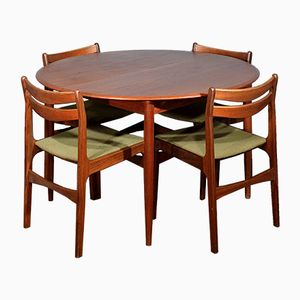 Mid-Century Danish Teak Extending Round Table and 4 Chairs
