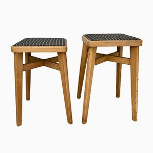 Wooden Stools, 1950s, Set of 2