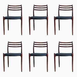 Chaises de Salle à Manger Modèle 78 en Palissandre par Niels O. Møller pour J. L. Møllers Møbelfabrik, 1960s, Set de 6