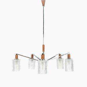 Lámpara de araña escandinava vintage de vidrio, madera y cromo