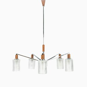 Vintage Scandinavian Chrome, Wood and Glass Chandelier