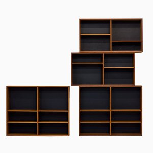Teak Domi 13 Bookcases by Nils Jonsson for Hugo Troeds, 1950s, Set of 4