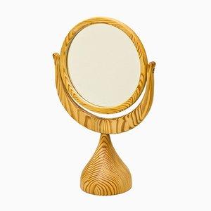 Specchio da toeletta in legno di pino di Erik Höglund per BODA Trä, anni '60