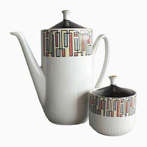 Vintage Set mit Kaffeekanne & Zuckerdose von RPR Riga Porzellanfabrik