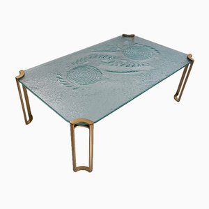 Dutch Brutalist Coffee Table in Textured Glass on Gold Lacquered Legs, 1980s