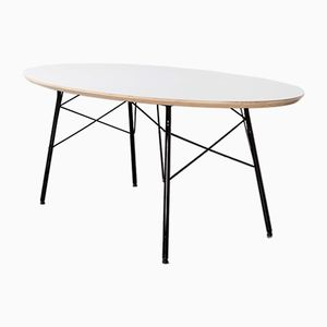 Large Modernist Ellipse-Shaped Dining Table, 1960s