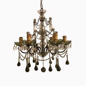 Lampadario vintage in vetro di Murano e cristallo