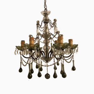 Vintage Murano Glass and Crystal Macaroni Chandelier