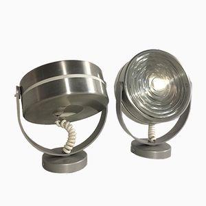 Wandlampen aus Glas & Aluminium, 1970er, 2er Set