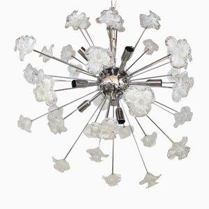 Sputnik Kronleuchter mit weißen & klaren Muranoglasblumen von Italienische light design