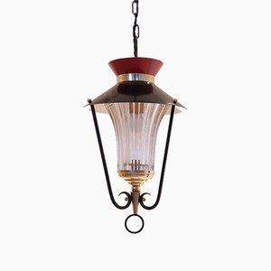 Lámpara colgante francesa vintage de metal, vidrio y latón