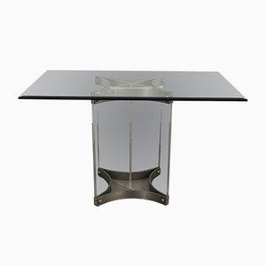 Tavolo da pranzo in acciaio, plexiglas e vetro di Alessandro Albrizzi, anni '70