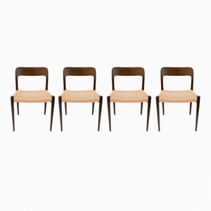 Vintage Model 75 Chairs by Niels O. Møller for J.L. Møllers, Set of 4