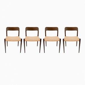 Vintage Modell 75 Stühle von Niels O. Møller für J.L. Møllers, 4er Set