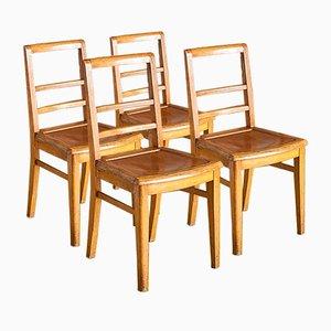 Französische Mid-Century Holzstühle, 1960er, 4er Set