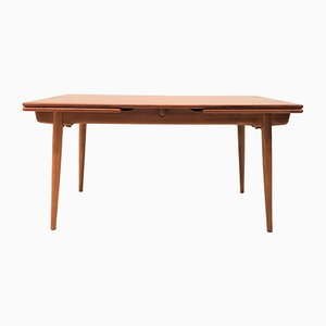 Model AT 312 Teak & Oak Dining Table by Hans J. Wegner for Andreas Tuck, 1950s