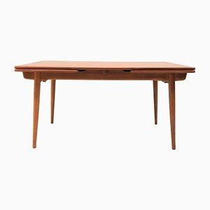 Tavolo da pranzo AT312 in teak e quercia di Hans J. Wegner per Andreas Tuck, anni '50