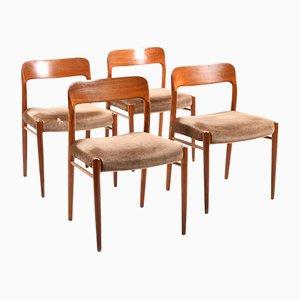 Sedie da pranzo nr. 75 di Niels O. Møller per J.L. Møllers, set di 4