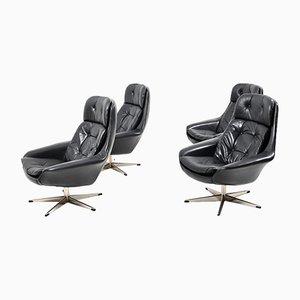 Schwarzer dänischer Vintage Drehsessel aus Leder von H. W. Klein für Bramin, 4er Set