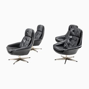Vintage Danish Black Leather Swivel Lounge Chairs by H. W. Klein for Bramin, Set of 4