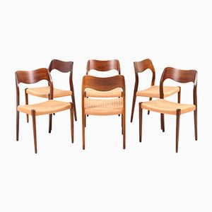 Dining Chairs Model No.71 by N.O. Moller for J.L. Møllers, 1960s, Set of 6