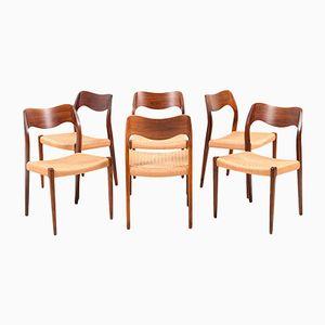 Esszimmerstühle Modell Nr.71 von N.O. Moller für J.L. Møllers, 1960er, 6er Set