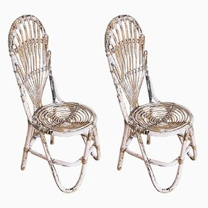 Chaises Vintage en Jonc Rose, France, 1960s, Set de 2