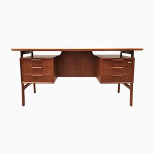 Model 75 Freestanding Teak Desk from Omann Jun, 1960s