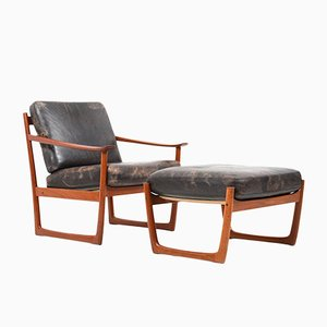 Dänischer Vintage Sessel und Fußhocker von Peter Hvidt & Orla Mølgaard-Nielsen für France & Søn