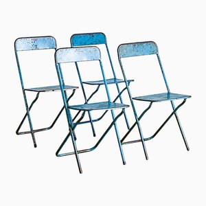 Mid-Century French Blue Iron Folding Chairs, 1950s, Set of 4