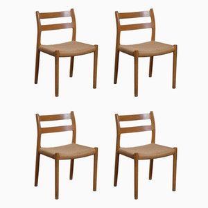 No. 84 Oak Dining Chairs with Paper Cord Seats by Niels Otto Møller for J.L. Møllers, 1970s, Set of 4