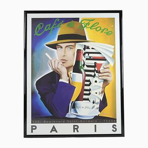 Vintage Café de Flore Paris Color Lithograph by Razzia