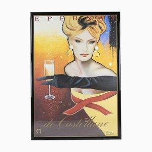 Vintage Epernay Champagne Lithograph Print by Razzia